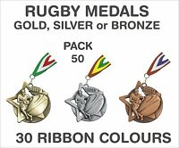 PACK OF 50 (£1.30 each) Rugby Star Medals and Ribbon 60mm Metal Ref:SM23/MR1