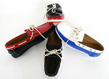 MENS DECK BOAT PATENT LEATHER SLIP ON LOAFERS WITH DIFF COLOUR COMBI 6-11