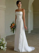 New Stock White/Ivor​y Chiffon Wedding Dress Bridal Gown Size 6 8 1​0 12 14 16