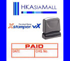 Xstamper VX { PAID DATE CHQ.No. } Pre-Inked Self-Inking Red Ink Rubber Stamp NEW