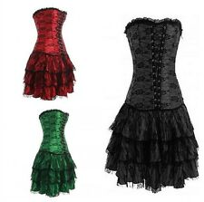 Sexy Burlesque Moulin Rouge Fancy Dress boned corset and skirt / G-string S-2XL