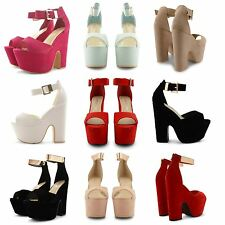 NEW LADIES PLATFORM HIGH CHUNKY HEEL PEEP TOE ANKLE STRAP SANDALS SHOES SIZE UK