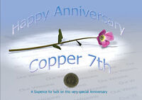 Sixpence for Luck 7th Copper Wedding Anniversary Card