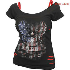 SPIRAL DIRECT LIBERTY USA 2in1 Ripped Red Blk,/Skull/Skeleton/Darkwear/Eagle/Top