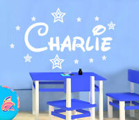 PERSONALISED NAME with STARS WALL ART STICKER GIRL BOY  disney style 22 LARGE