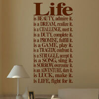 LARGE WALL QUOTE LIFE DREAM PROMISE LOVE STICKER ART NEW TRANSFER UK DECAL