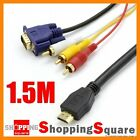 1.5M Gold Plated HDMI to VGA 3 RCA Converter Adapter Video Audio AV HDTV Cable