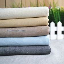 Cotton Linen Flax Fabric Plain for Clothes Dress Craft Upholstery By Meter New