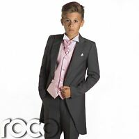 Boys Grey Tail Suit, Pink Waistcoat, Page Boy Suits, Wedding Suits, Boys Suits