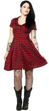 Sourpuss WESTERN LUCKY HORSESHOE DRESS Red Plaid Pinup Vintage 50s Retro Cowgirl