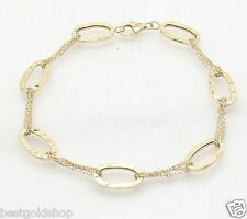 Hammered Oval Link Bracelet with Cable Chain Real Solid  14K Yellow Gold