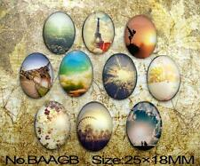 10pcs Handmade Sun and nature Oval Glass 25x18mm Cabochon for Craft Supplies
