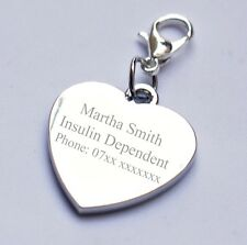 Engravable Charm for Insulin Dependant any text/message/wording birthday gift