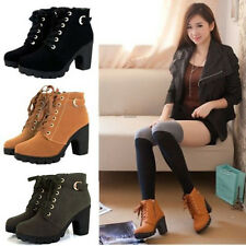 Women High Top Heel Lace Up Buckle Ankle Boots Winter Pumps Suede Shoes Amazing