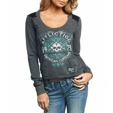 AFFLICTION Womens LS Pullover Sweat Shirt Top DEATH CROSS Biker Sinful S-L $84