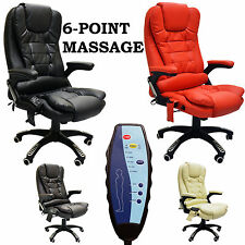Luxury Leather Reclining Office Chair with 6-Point Massage - Study Computer
