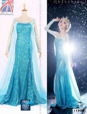 Women Adults Frozen Princess Queen Elsa Costume Cosplay Party Fancy Dress COS002