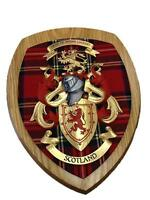 Scottish Hand Crafted Coat of Arms Scotland Wall Plaque Royal Stewart Tartan BN