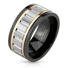 Men's Stainless Steel Tri-Tone Gear Center Spinning Band Ring, Sizes 9-13 (3680)