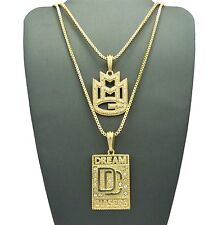 "Hip Hop Iced Out Micro MMG, DC Pendant 24"",30"" Box Chain 2 Necklace Set RC1350"