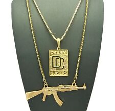 Hip Hop Micro Dream Chasers DC, Gun Pendant Box Chain 2 Necklace Set RC1348