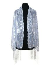 Sheer Mesh Sequin Evening Prom Wedding Formal Wrap Shawl w/Fringe Party Scarf