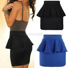 Women Girl High Waisted Peplum Frill Pencil Skirt Stretch Bodycon Mini Skirt O68
