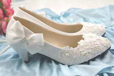 Princess Pure Bowknot Pearls Party Platform Dress Wedding Shoes