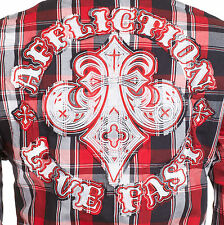AFFLICTION Mens Embroidered Button Down Shirt FIREFLY Roar BKE UFC L-XXL $78