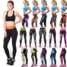 mujeres 3D yoga Sport Fitness Leggings Compression Tights Dance Pants Cropped