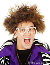 Redfoo Brown Afro Costume Wig & White Glasses LMFAO Fancy Dress Halloween New
