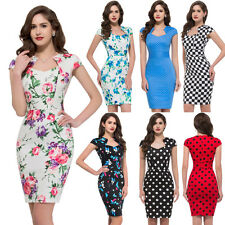 Vintage Style 50's Housewife Pin up Rockabilly Evening Party Pencil Sheath Dress
