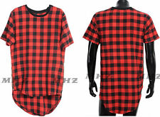 Long Extended Hip Hop T-Shirt Side Zipper Swag Men Man Streetwear Tyga Red Plaid