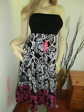Black white and pink floral summer holiday dress and maxi skirt in one