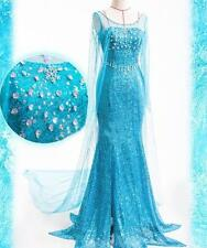 Frozen Elsa Cosplay Dress Gown Princess Cosplay party Costume Adult Size NEW UK