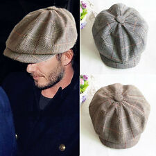 Mens Retro Style Grey Khaki Baker Boy Hat Newsboy Gatesby Tweed Country Flat Cap