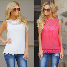 Women Vest Top Sleeveless Blouse Casual Tank Tops T-Shirt Lace Rose/White/Black