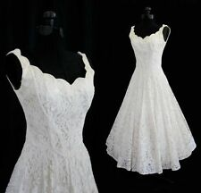 New White/Ivory Tea Length Short Beach Lace Wedding Dress Bridal Gowns Size6-16