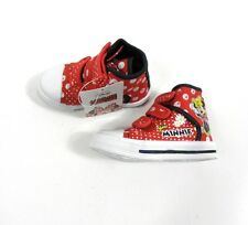 Disney Girls Minnie Mouse High Top Trainers Shoes Boots Velcro UK Infant 6-12