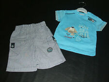 BOYS SHORTS & TOP SET BLUE/WHITE PEQUILINO *GREAT LOOKING* 0-3 3-6 6-9 BNWT