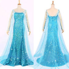Frozen Elsa Fancy Dress Party Costume Blue  adult all sizes  all sizes  WIG