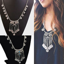 Vintage Silver Boho Coins Turquoise Long Sweater Chain Black Beads Necklace