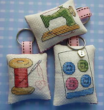 Handmade Stitched Keyring Sewing Themed Machine Card of Buttons Reel of Thread