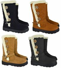 LADIES QUILTED WINTER FUR LINED WOMANS FASHION SNOW ANKLE BOOTS SHOES UK SIZES
