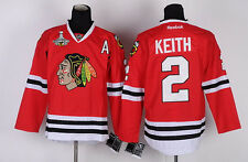 CHICAGO BLACKHAWKS DUNCAN KEITH #2 REEBOK STITCHED JERSEY W/ 2015 CUP PATCH