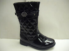 Girls Long Black Patent Quilted Boot Size 4 - 9
