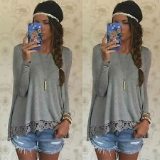 Damen Sommer Vest Top Long Sleeve Blouse Casual Tank Tops T-Shirt Lace