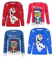 Boys Girls Unisex Kids Sweater Olaf Minion Knitted Winter Christmas Jumper Tops