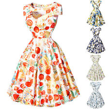FLORAL/Fruits Rockabilly Vintage Swing Evening 50s 60s Retro Pin Up Prom Dress
