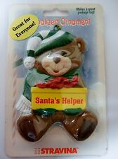 Holiday Christmas Tree Bear with Present Personalized Ornament Names A-T